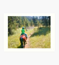 Riding into Mountain Woods Art Print