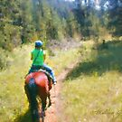 Riding into Mountain Woods by Malinee Ganahl