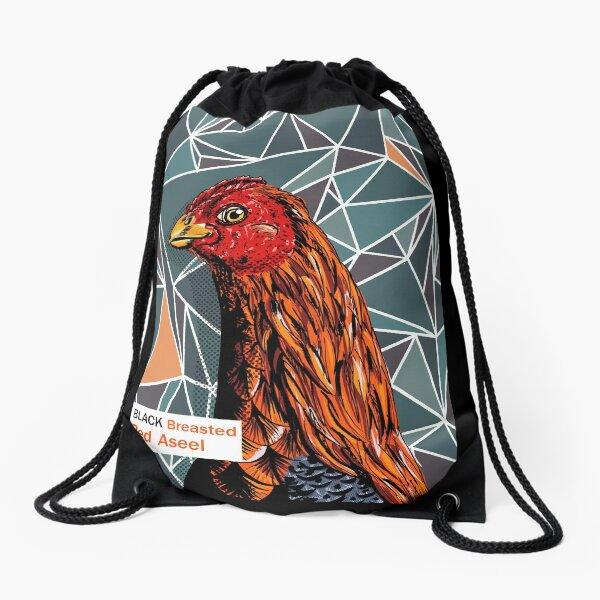 Black breasted red aseel hen Drawstring Bag