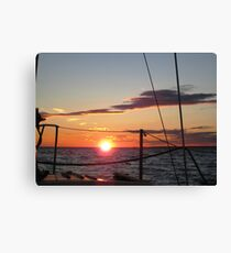 Autumn sunset off the starboard bow  Canvas Print