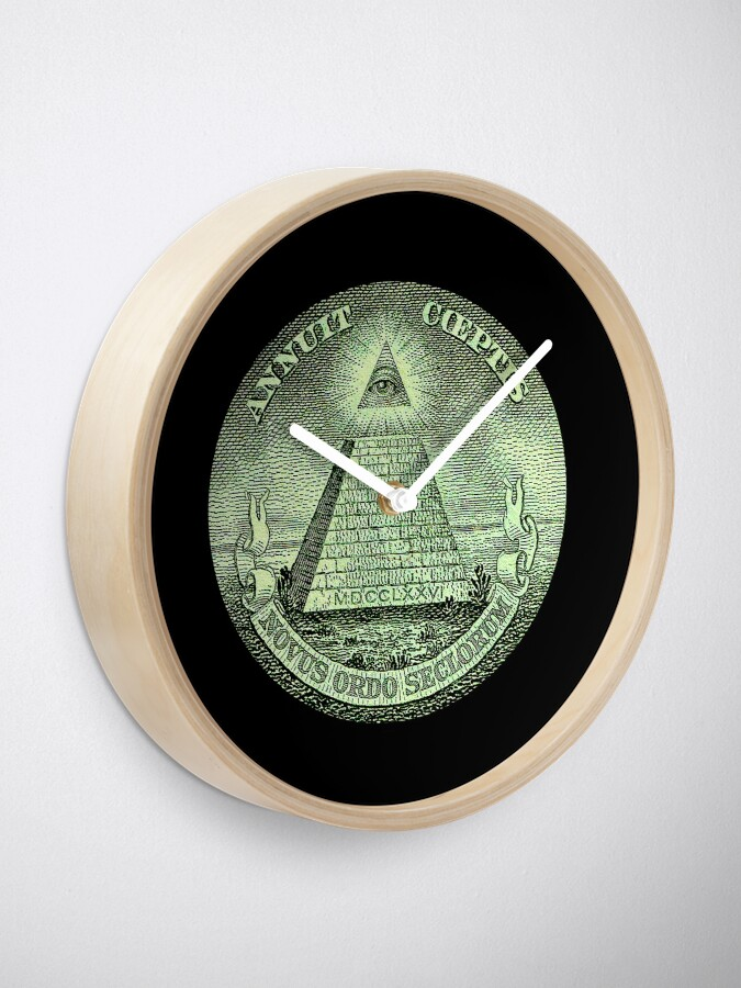 Alternate view of Eye of Providence, America, USA, Mystic, Dollar, Bill, Money, Freemasonry, All Seeing Eye, Pyramid, Masonic. Clock