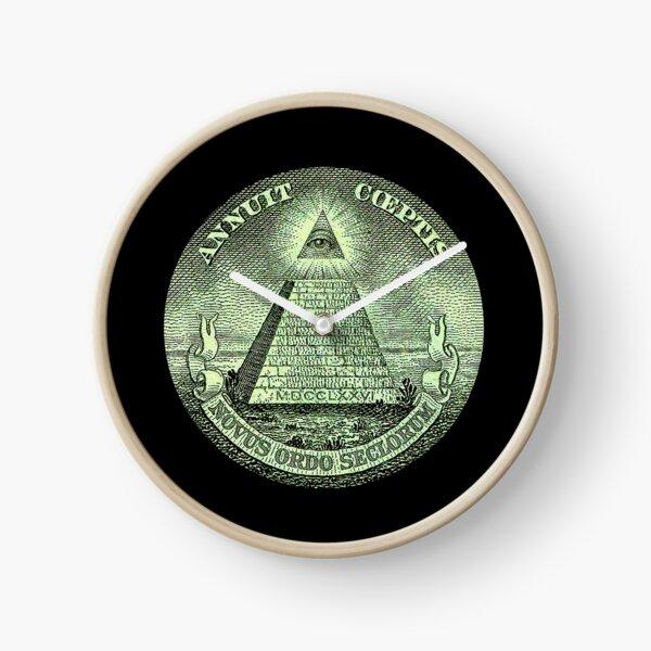 Eye of Providence, America, USA, Mystic, Dollar, Bill, Money, Freemasonry, All Seeing Eye, Pyramid, Masonic. Clock