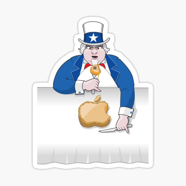 Fat Uncle Sam Eats Apple's Pie Sticker