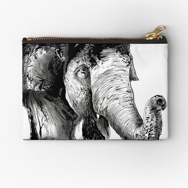 Inked Elephant Zipper Pouch