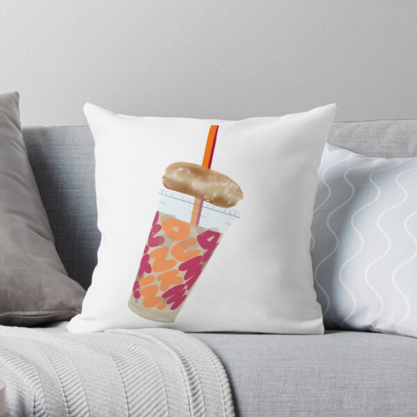 Dunkin' coffee and donut Throw Pillow