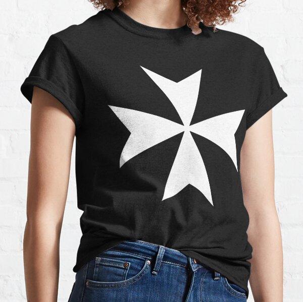 CROSS. MALTA. Maltese, Amalfi Cross, Maltese cross, Knights Hospitaller, WHITE on BLACK. Classic T-Shirt