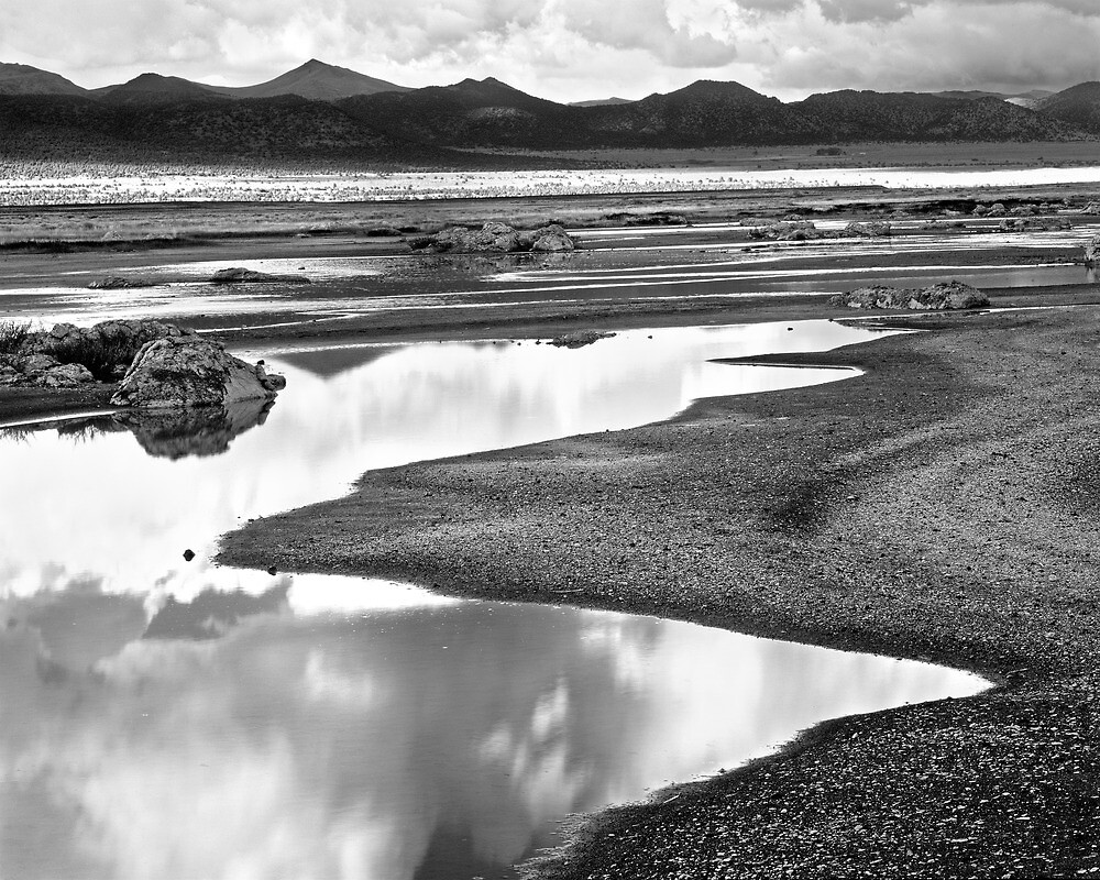 BW Mono Lake Reflections & Mountains by Chris Whitney