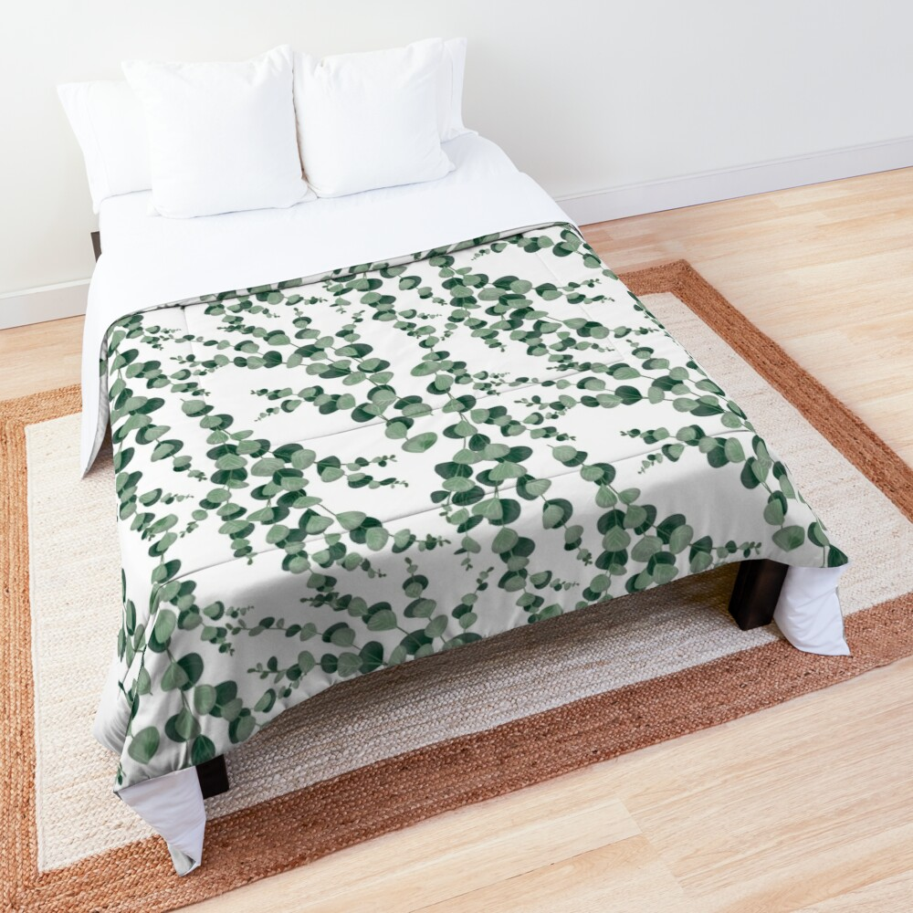 Eucalyptus leaves in white Comforter