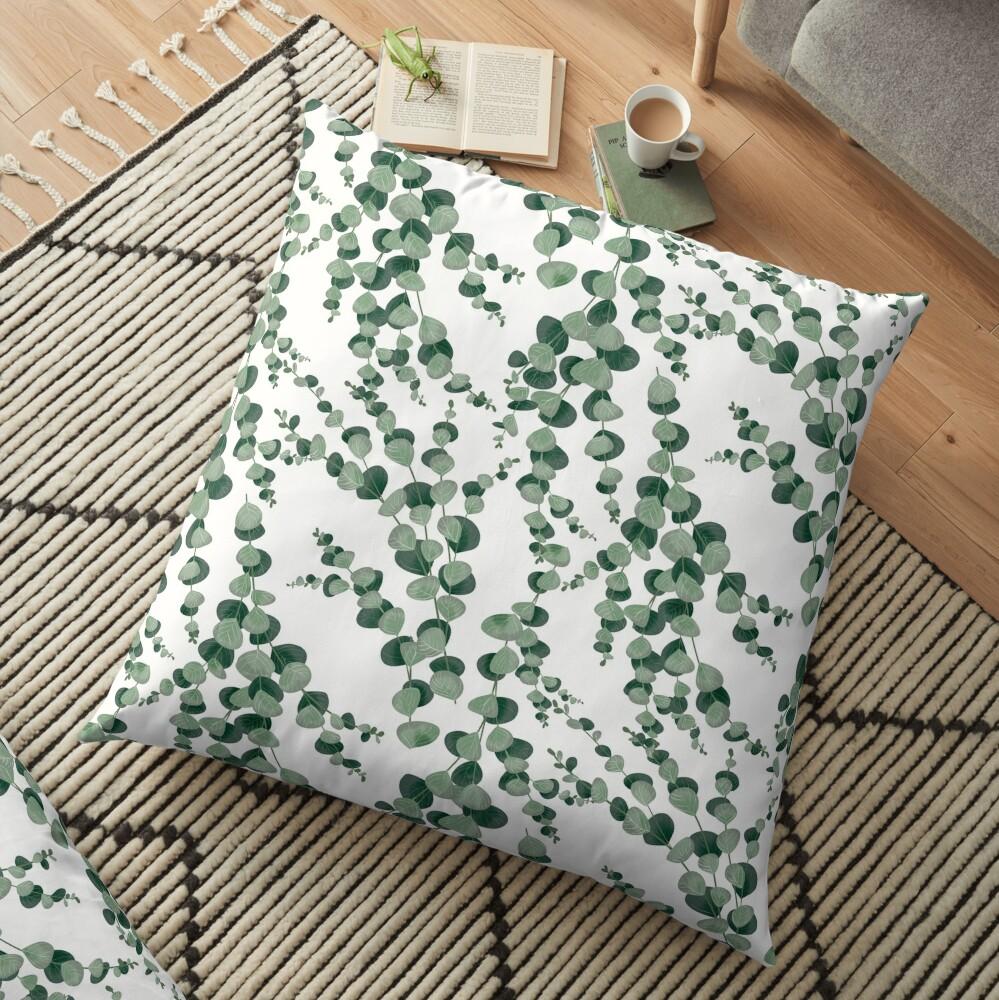 Eucalyptus leaves in white Floor Pillow