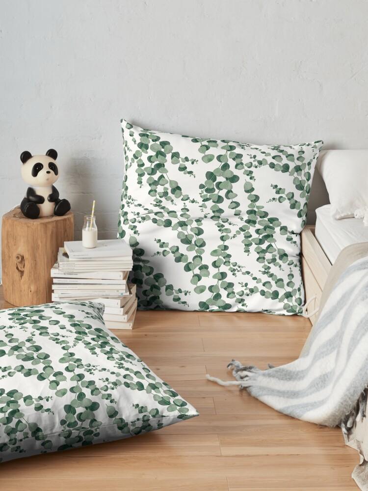 Alternate view of Eucalyptus leaves in white Floor Pillow