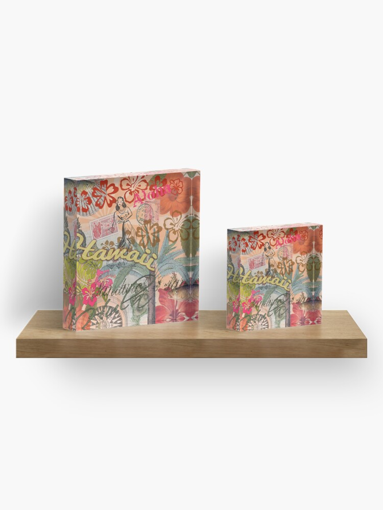 Alternate view of Vintage Hawaii Travel Colorful Hawaiian Tropical Collage Acrylic Block