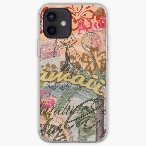 Vintage Hawaii Travel Colorful Hawaiian Tropical Collage iPhone Soft Case