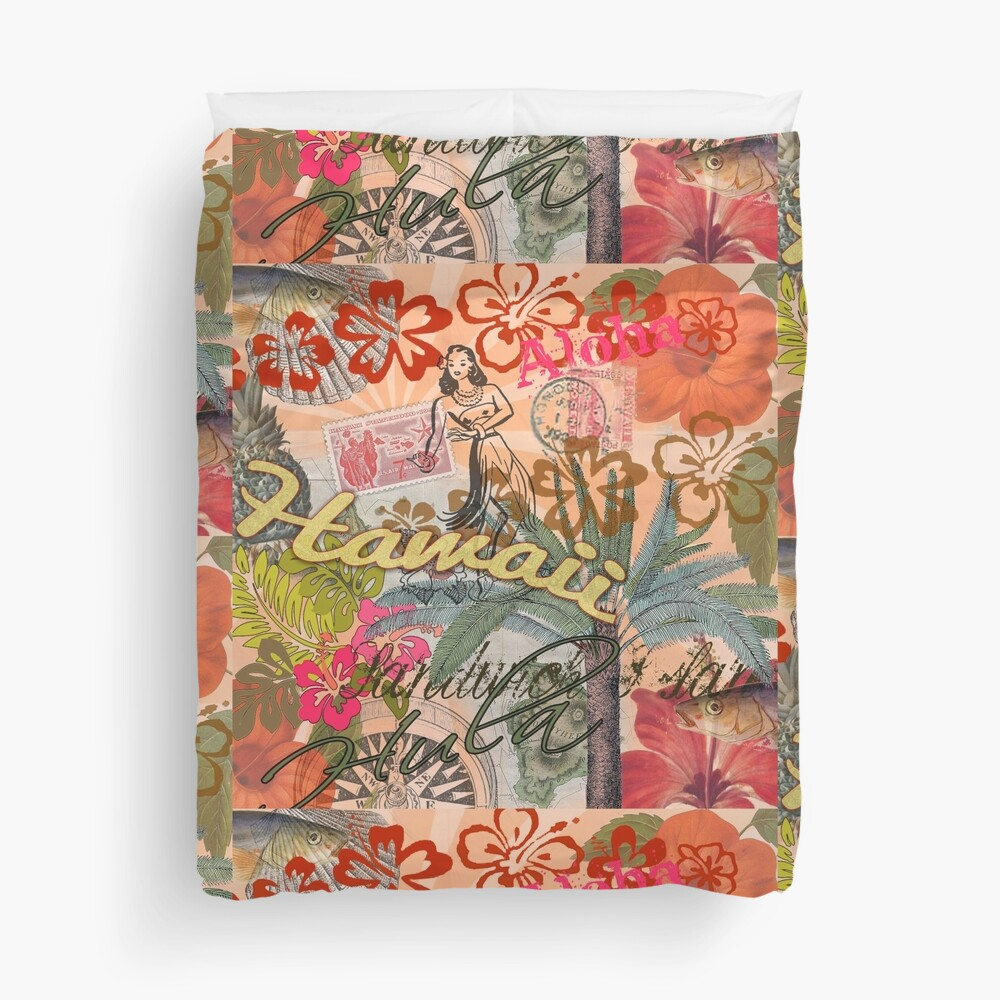 Vintage Hawaii Travel Colorful Hawaiian Tropical Collage Duvet Cover