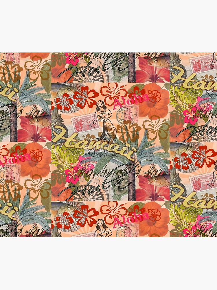 Vintage Hawaii Travel Colorful Hawaiian Tropical Collage by antiqueart