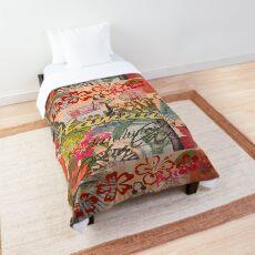 Vintage Hawaii Travel Colorful Hawaiian Tropical Collage Comforter