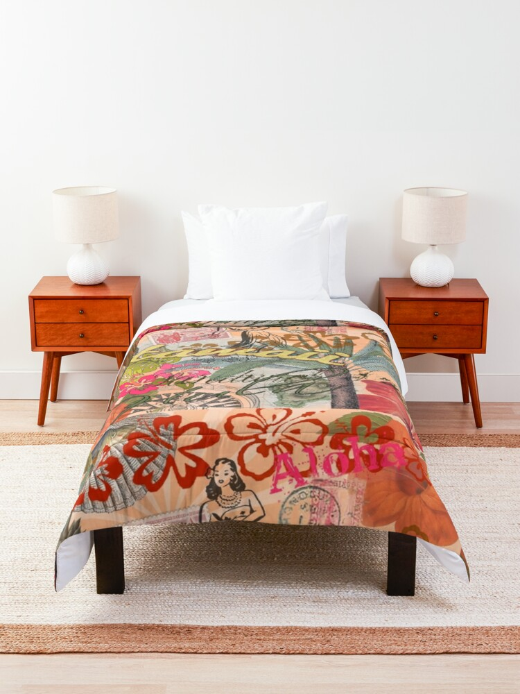 Alternate view of Vintage Hawaii Travel Colorful Hawaiian Tropical Collage Comforter