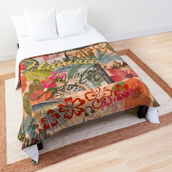 Vintage Hawaii Travel Colorful Hawaiian Tropical Collage Comforter