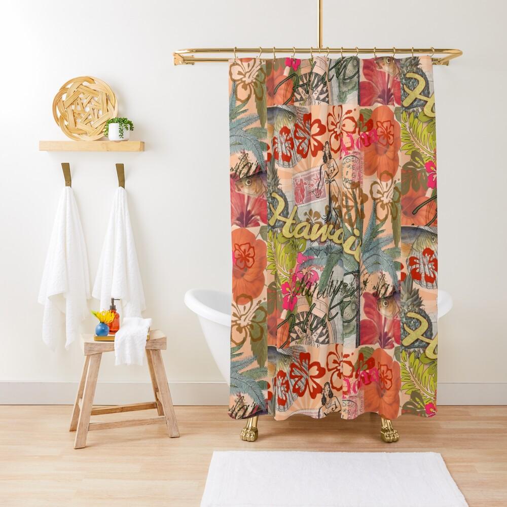 Vintage Hawaii Travel Colorful Hawaiian Tropical Collage Shower Curtain