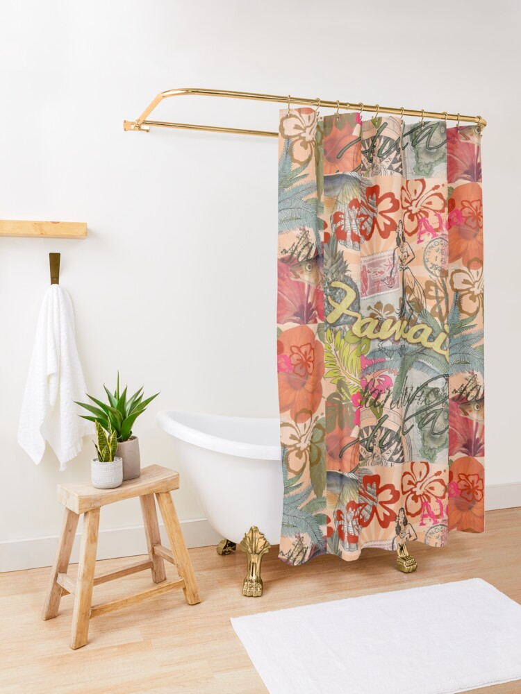Alternate view of Vintage Hawaii Travel Colorful Hawaiian Tropical Collage Shower Curtain