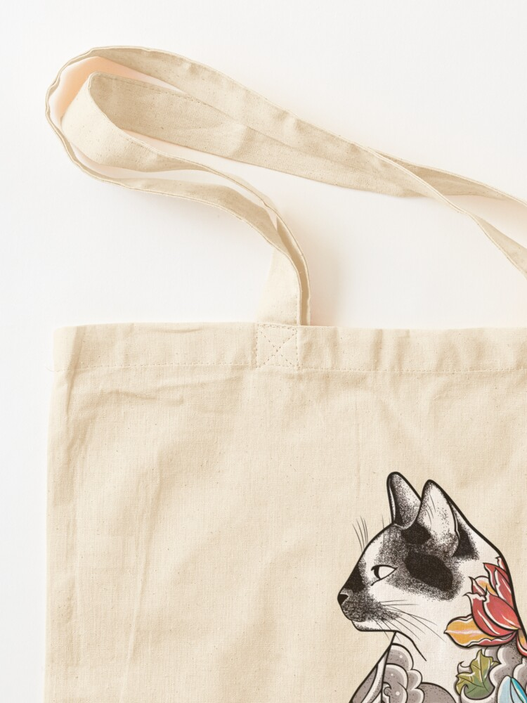 Alternate view of Cat in Lotus Tattoo Tote Bag