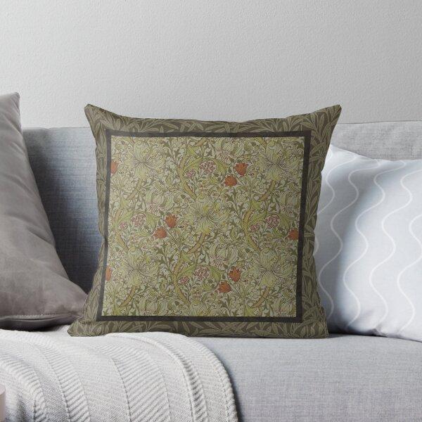 William Morris Floral lily willow art print design Throw Pillow