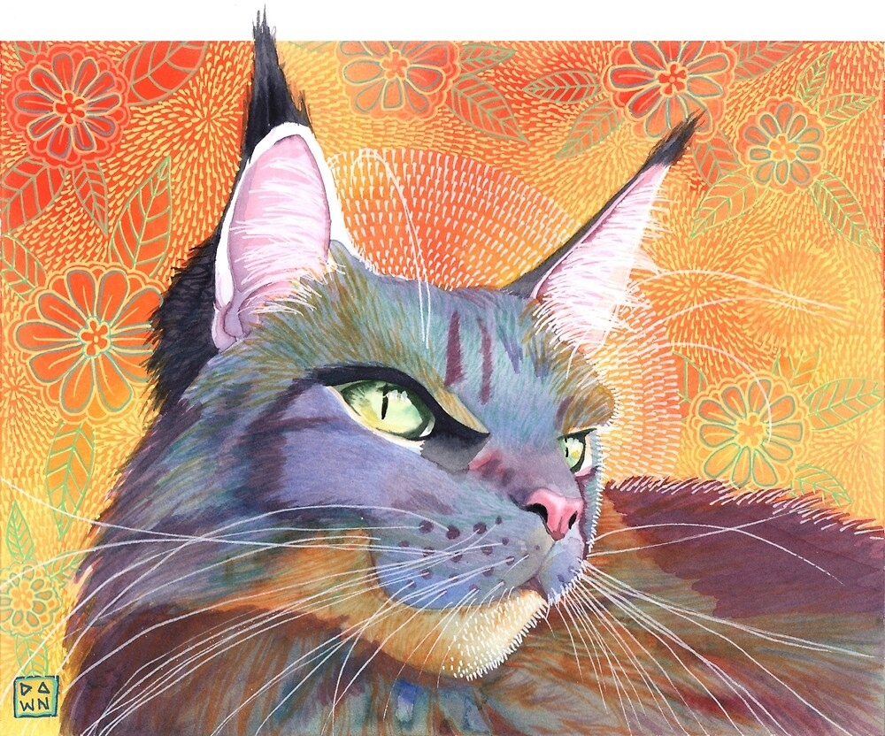 Colorful violet and orange Maine coon cat painting in an energetic pop art style with citrusy floral background by Dawn Pedersen