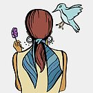 Girl with Flower and Scarf Plus Bird by Otter-Grotto