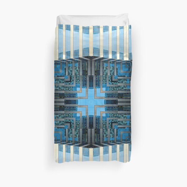 Geometric Kaleidoscopic Architecture Building Window Reflection Pattern Duvet Cover