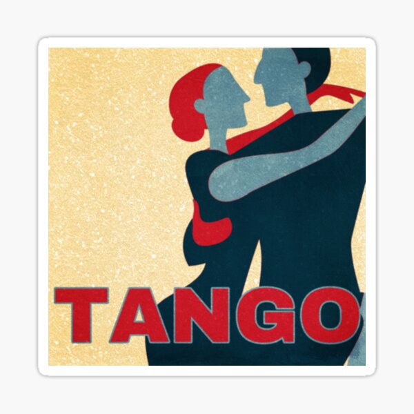 Red and Blue Tango Couple Pop Art Sticker