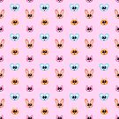 Cute Rabbit, Mouse and Cat Catoon Icon Pattern in Pink by Michelle Still Artist
