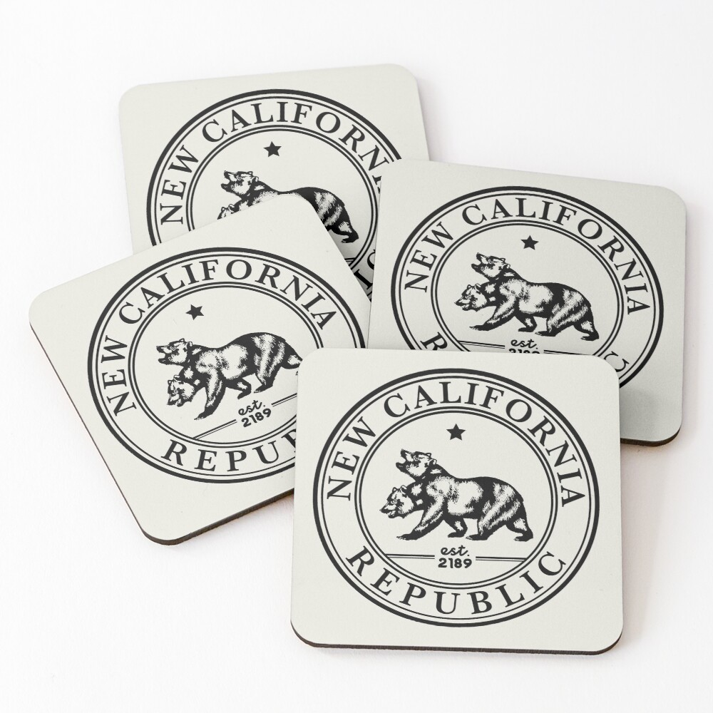 New California Republic Crest   Fallout Logo   Black Print Coasters (Set of 4)