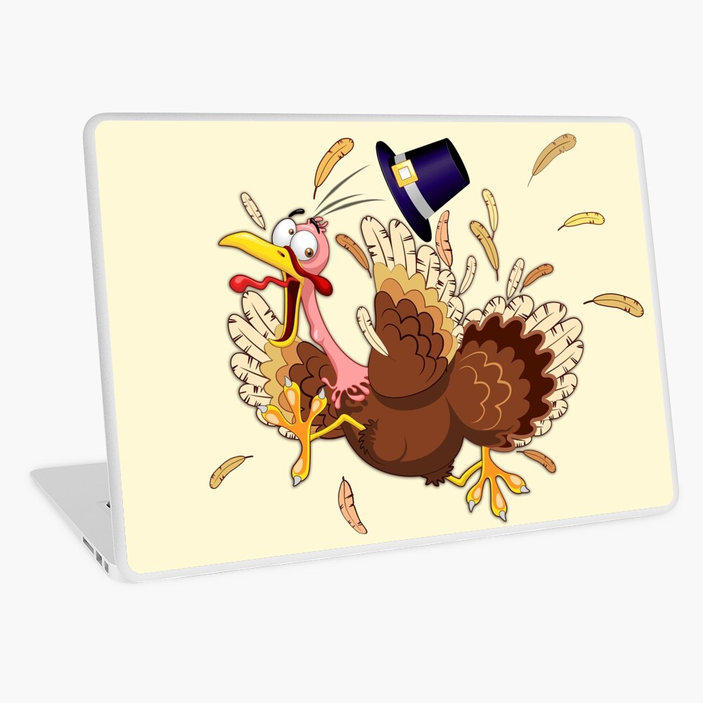 Funny Turkey escape Thanksgiving Character Laptop Skin