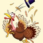 Funny Turkey escape Thanksgiving Character by BluedarkArt