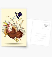 Funny Turkey escape Thanksgiving Character Postcards