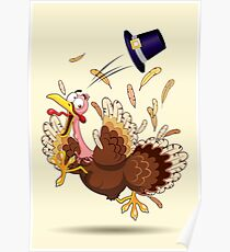 Funny Turkey escape Thanksgiving Character Poster