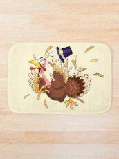 Funny Turkey escape Thanksgiving Character Bath Mat