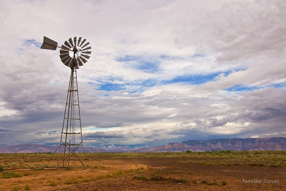 Parachilna windmill, South Australia by Neville Jones