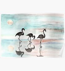 pink sunset and flamingo Poster