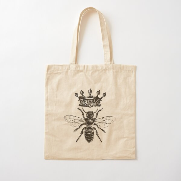 Queen Bee | Vintage Honey Bees | Black and White |  Cotton Tote Bag