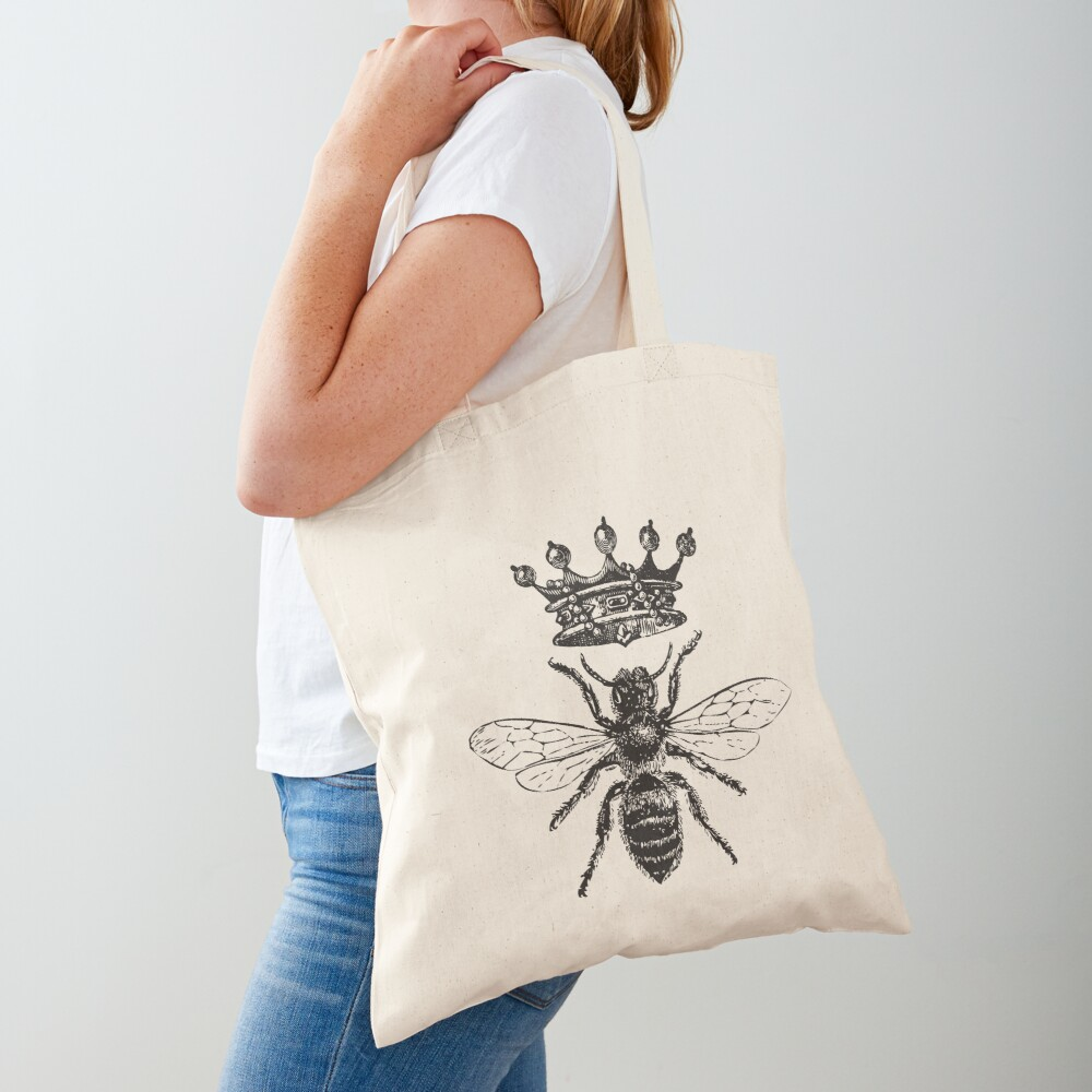 Queen Bee | Vintage Honey Bees | Black and White |  Tote Bag