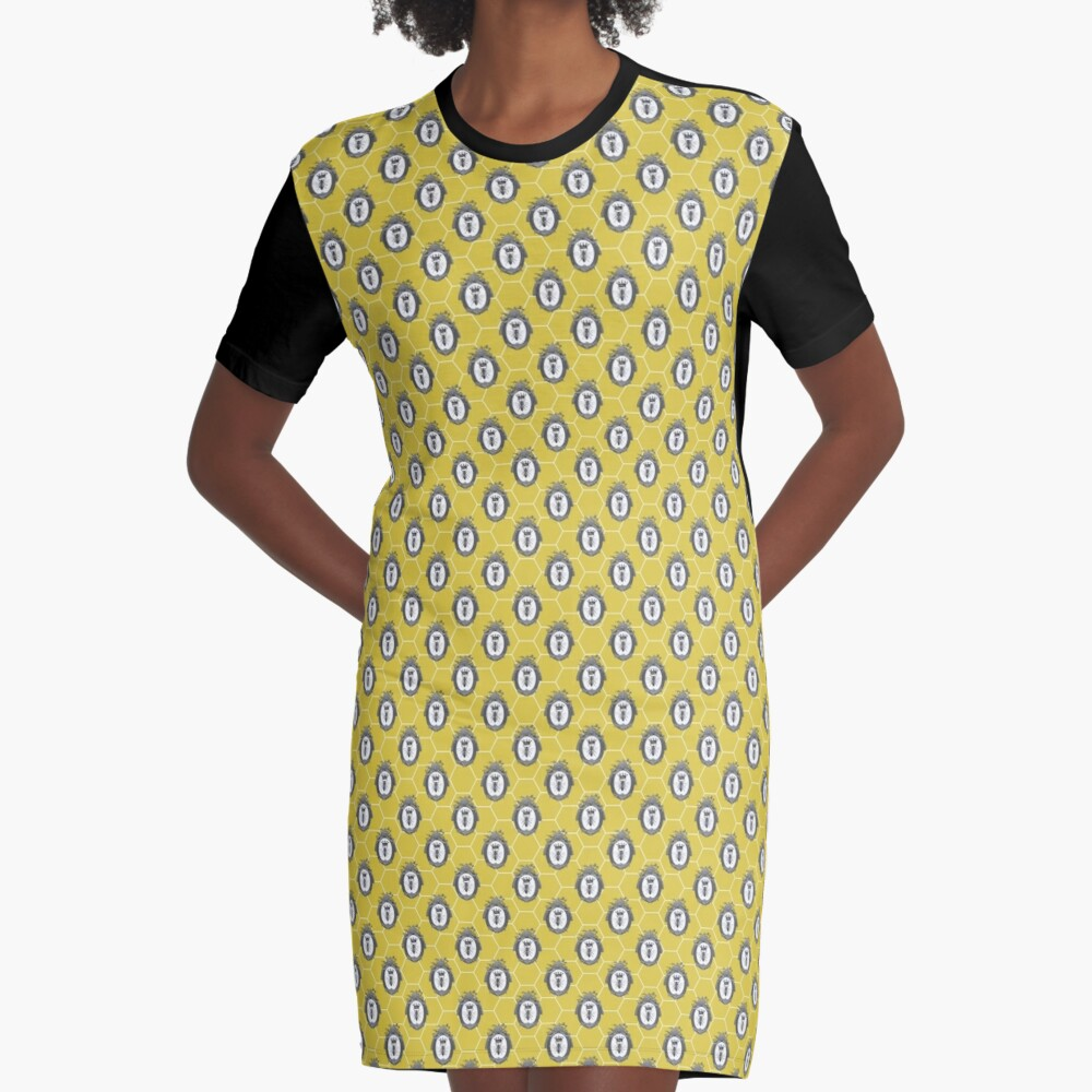 Queen Bee | Vintage Honey Bees | Honeycomb Patterns |  Graphic T-Shirt Dress