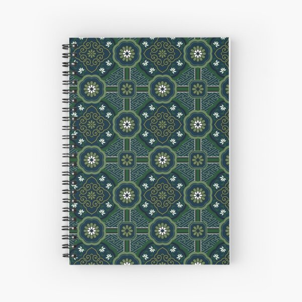 Pattern blue and green with sayagata Spiral Notebook