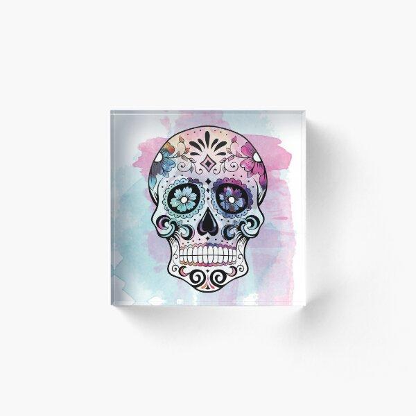Watercolor Sugar skull Acrylic Block