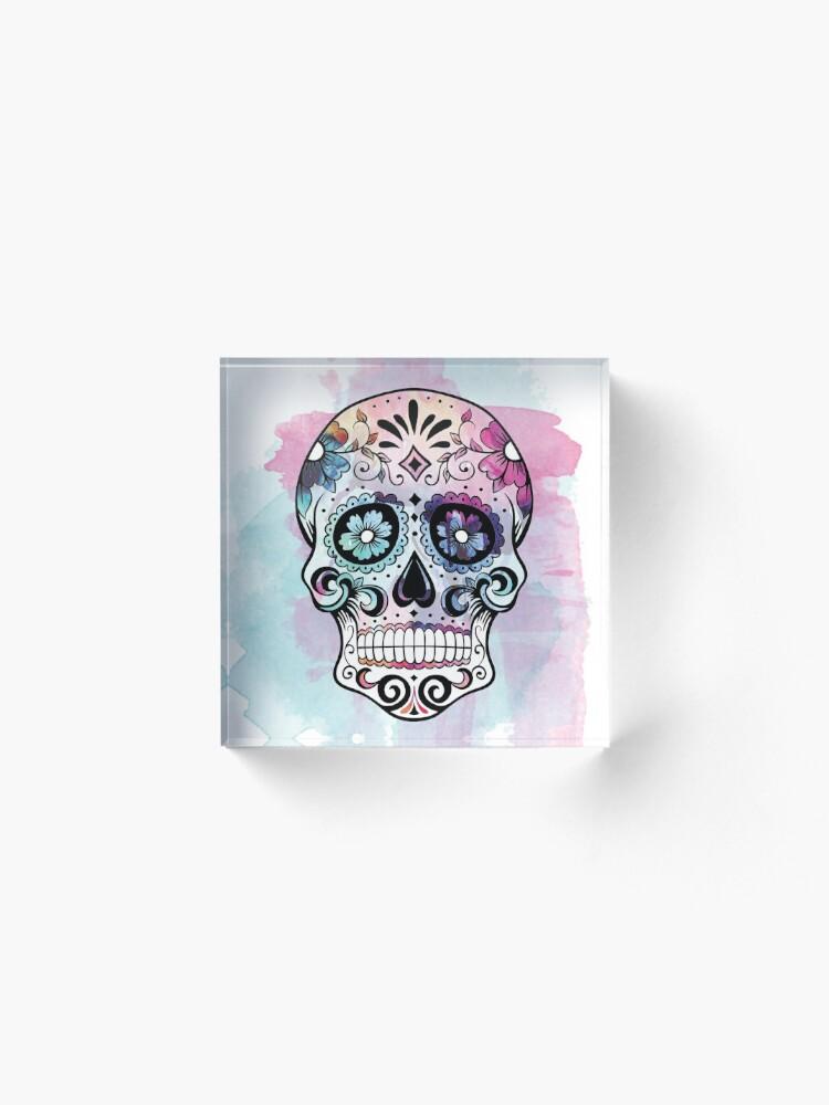 Alternate view of Watercolor Sugar skull Acrylic Block