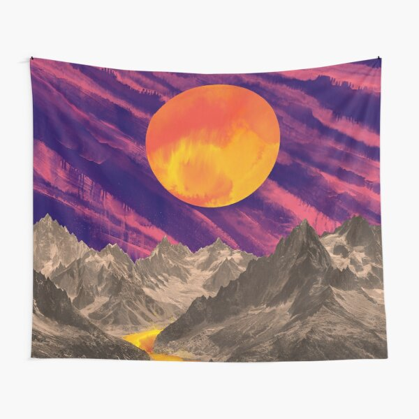Fuchsia Sunsets in the Mountains Tapestry