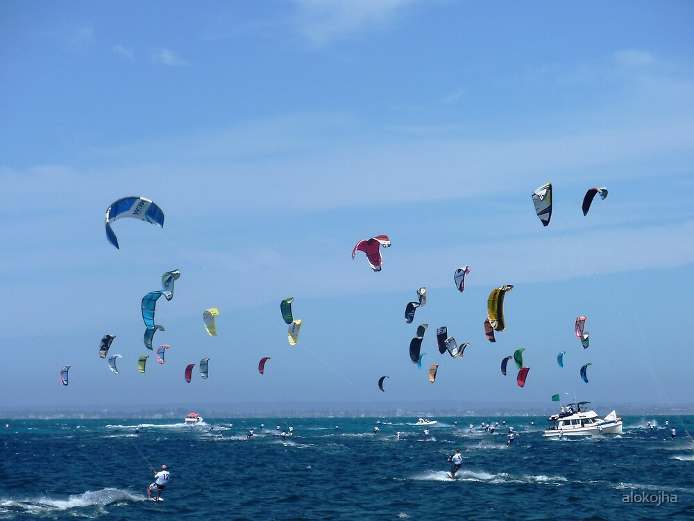 Kite surfers - Race from Rottenest to Cottesloe by alokojha
