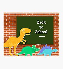 Back to School Cute Dinosaurs for Kids Photographic Print