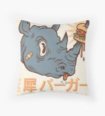 Rhino Burger Kanji Throw Pillow