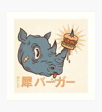 Rhino Burger Kanji Art Print