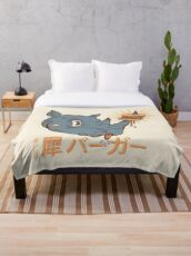 Rhino Burger Kanji Throw Blanket